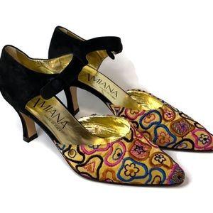 Amiana Italian Embroidered heels 7 pointed toe
